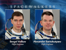 Spacewalkers Sergei Volkov and Alexander Samokutyaev