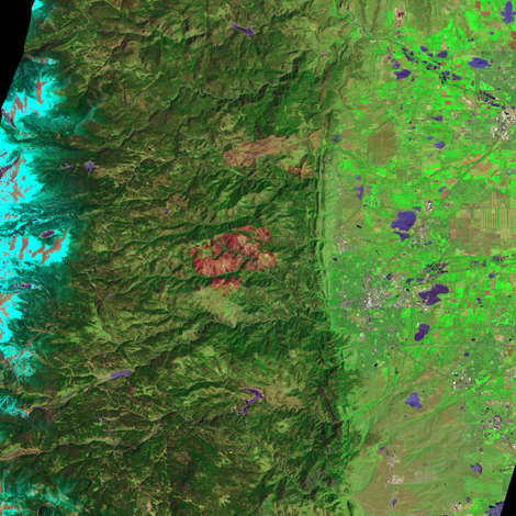 On June 7, 2011, the Advanced Land Imager (ALI) on NASA's Earth Observing-1 (EO-1) satellite observed the Fourmile Canyon burn scar