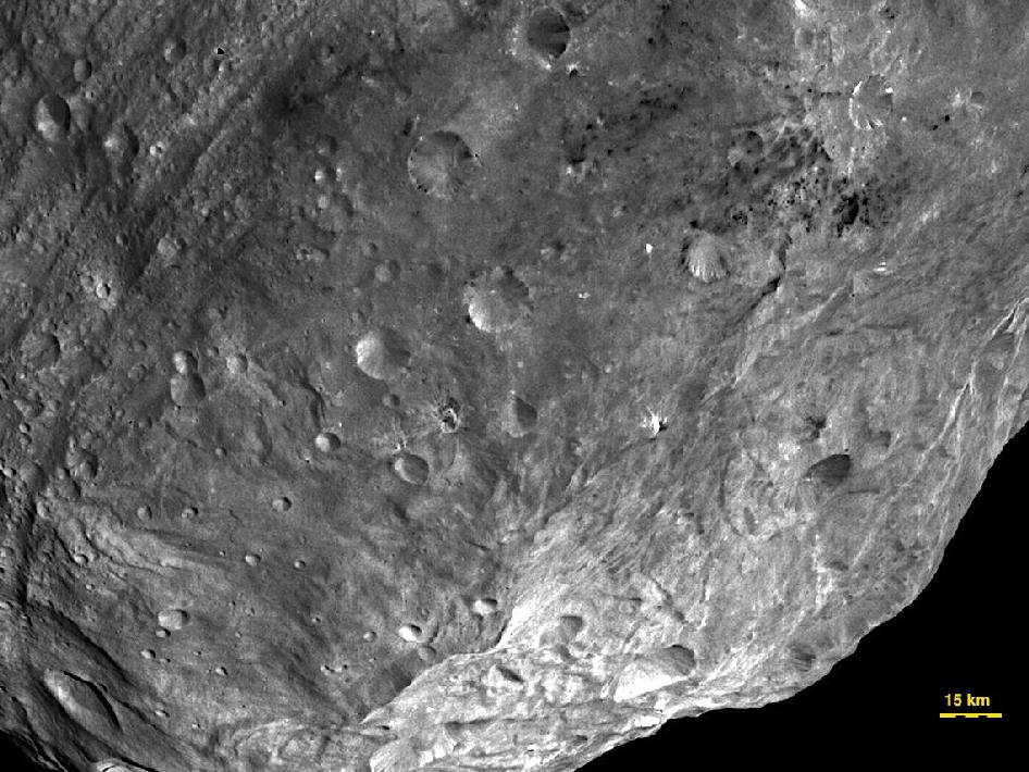 Close-up view of Vesta's south pole region