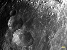 Close-up view of 'Snowman' craters