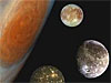 Montage showing Jupiter and its Great Red Spot and, from top to bottom, the moons Europa, Ganymede and Callisto