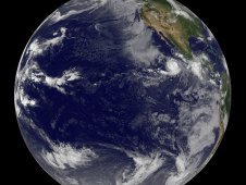 GOES-11 satellite shows Hurricane Eugene (right) off the western Mexican coast on August 2, 2011 at 1500 UTC (11 a.m. EDT).