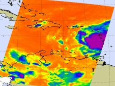 AIRS infrared image of Tropical Storm Emily was captured on Aug. 2 at 6:17 UTC (2:17 a.m. EDT)