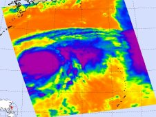 AIRS infrared image of Muifa was captured on Aug. 2 at3:59 UTC