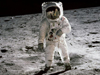 Buzz Aldrin walks on moon during the Apollo 11 mission