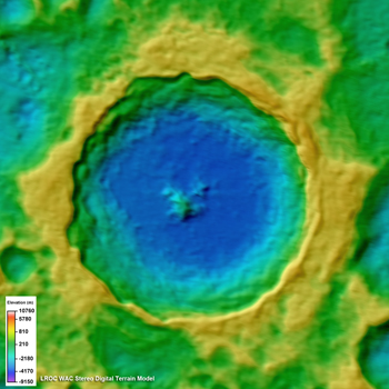 Topographic model of Tycho crater