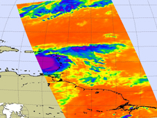 Infrared image of Tropical Storm Emily