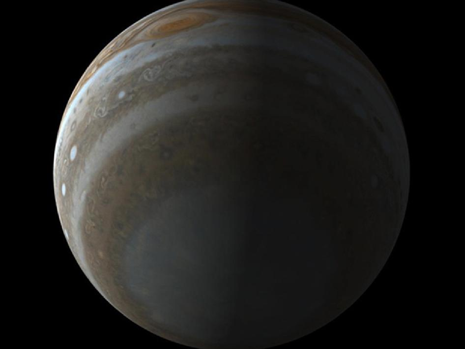Simulated view of the south pole of Jupiter