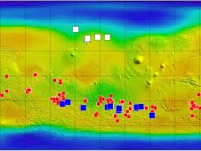 This map of Mars shows relative locations of three types of findings related to salt or frozen water, plus a new type of finding that may be related to both salt and water
