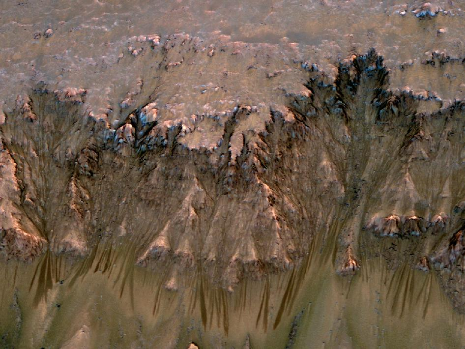An image combining orbital imagery with 3-D modeling shows flows that appear in spring and summer on a slope inside Mars' Newton crater