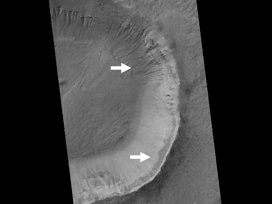 This image contrasts gullies and recurring warm-season slope flows appearing in the same crater, in the middle southern latitudes of Mars