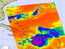 Infrared image of Tropical Storm Emily on 8-3-11