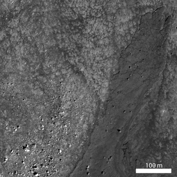 Impact melt flowed across the primary ejecta of an unnamed Copernican-aged impact crater