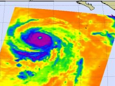 AIRS infrared image of Hurricane Eugene on August 4 at 09:23 UTC (5:23 a.m. EDT) .