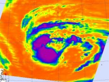 AIRS infrared image of Tropical Storm Merbok on August 3 at 15:11 UTC.