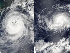 MODIS captured Muifa and Merbok in the western Pacific at 4:35 UTC (12:35 a.m. EDT) on August 5, 2011.
