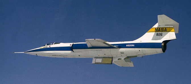 NASA F-104G No. 826 carried space shuttle thermal protection system materials.