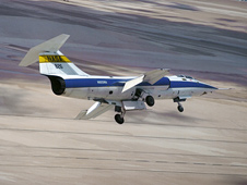 NASA F-104G No. 826 banks sharply for landing at Edwards Air Force Base.
