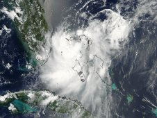 MODIS visible image on the reformed Tropical Depression Emily on August 6 at 2:25 p.m.