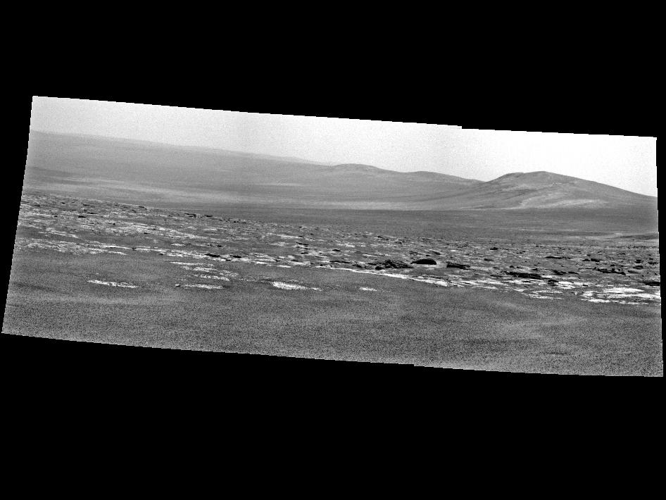 NASA's Mars Exploration Rover Opportunity used its panoramic camera to capture this view of a portion of Endeavour crater's rim.