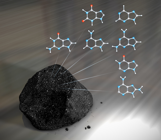 artistic representation of a meteorite and nucleobases