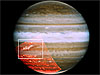 Jupiter with its wind belts highlighted