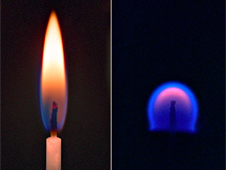A candle burning on Earth (left) versus in microgravity.