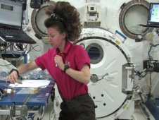 Astronaut Cady Coleman performs the Dispersion of Liquid Pepper experiment from Will James Middle School in Billings, MT.