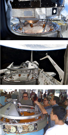 The shuttle and station docking mechanisms after soft capture and before retraction during STS-121.