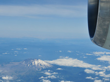 Mt. St. Helens in Washington state dominates the landscape in this view from NASA's DC-8 flying laboratory.