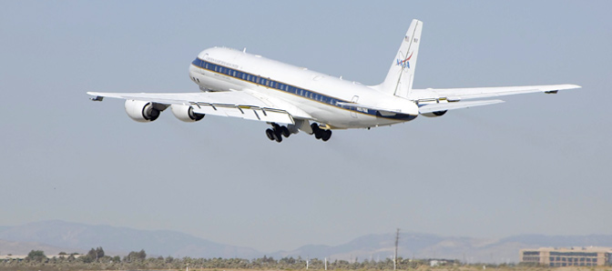 NASA's DC-8 flying science laboratory takeoff