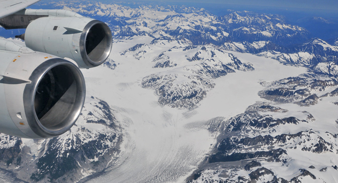 view of a large glacier in British Columbia