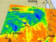 Remnants of Tropical Storm Muifa  raining on China on August 8, 2011 at 1705 UTC 1:05 p.m. EDT.