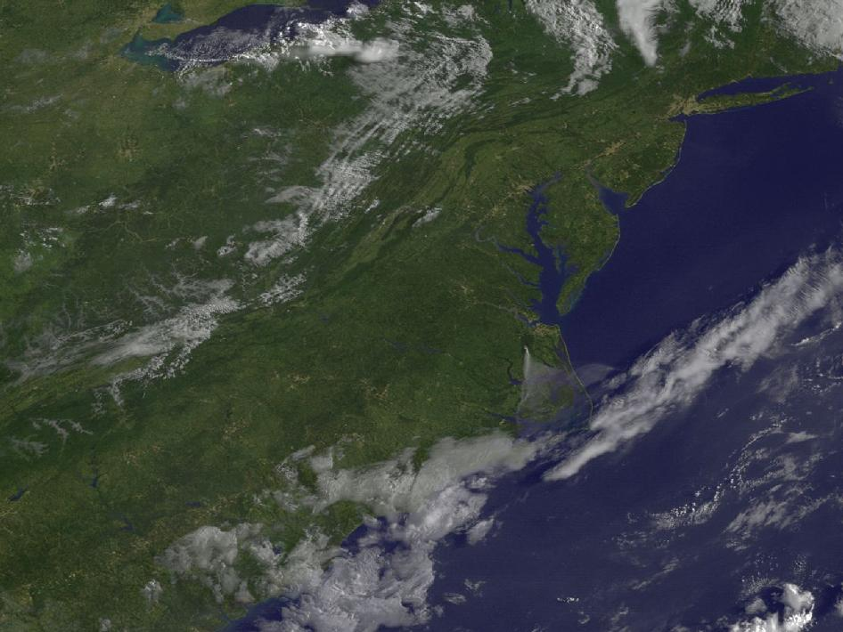 satellite image of Eastern U.S. with smoke from Va. fires