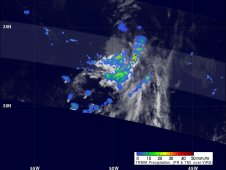 Image from TRMM showed remnants of tropical storm Emily on August 10, 2011 at 0227 UTC.