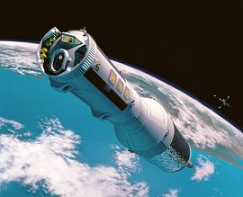 An artist's concept of an Earth-to-Moon space ferry.
