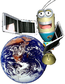 Cartoon drawing of Pixel the Satellite pointing to an image of the Earth