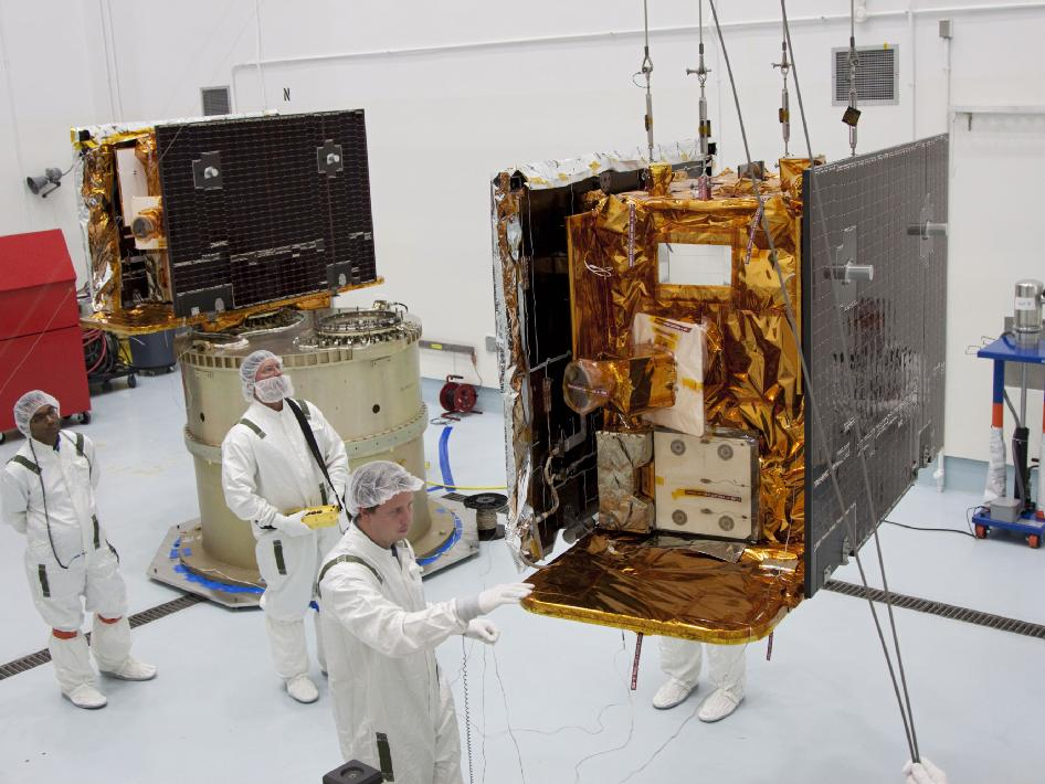 GRAIL-A and GRAIL-B - completed their final inspections and were weighed one final time at the Astrotech Space Operations facility in Titusville, Fla.
