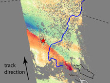 Horizontal motion measured from radar images reveals the faults  that moved in the 2010 Baja California earthquake.