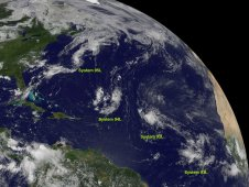 GOES image from August 12, 2011 at 1445 UTC (10:45 a.m. EDT) shows four low pressure systems: 92L, 93L, 94L and 95L