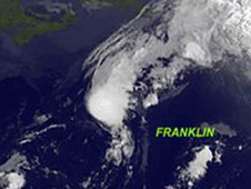 Close up on Franklin from the four storms image
