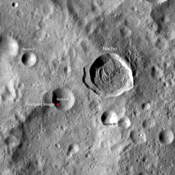 A portion of the global WAC mosaic showing the Necho crater region of the farside lunar highlands