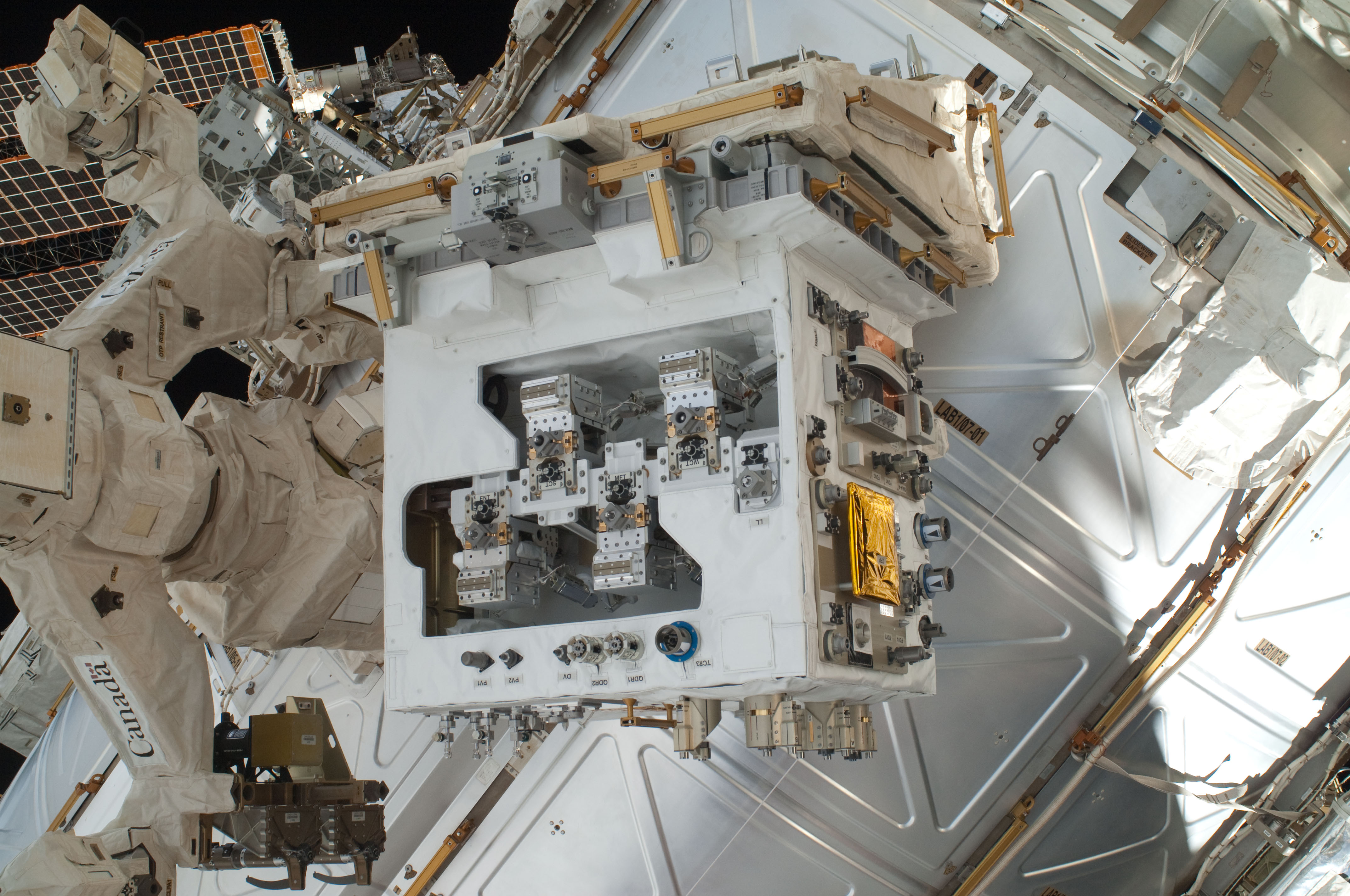nasa robotic refueling module soon to be relocated to permanent the robotic refueling mission module installed on its temporary platform on the international space station s