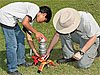 A man and a boy place a water bottle rocket on a launcher