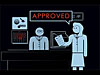 A cartoon drawing of one scientist saying 'APPROVED' to another scientist