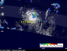 On August 16, 2011 at 0005 UTC, TRMM noticed a small area of heavy rainfall in Tropical Storm Gert.