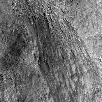 Elongate flows formed during their race towards the floor of Reiner crater