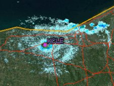 Segment from KCLE radar with the Lake Erie meteor begin and end points labeled.