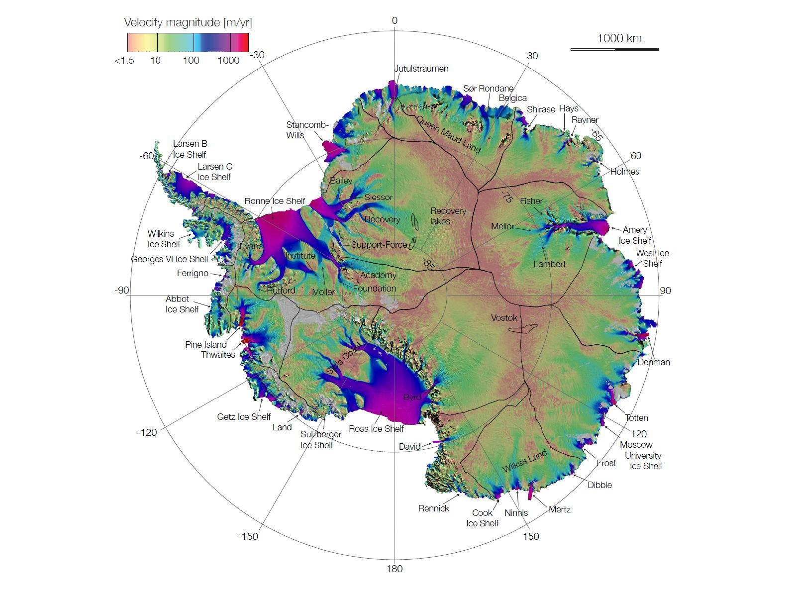 NASA Antarctic Ice Flows A Complete Picture - Antarctica cities map