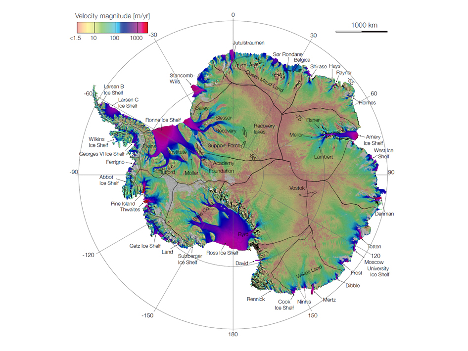 First complete map of the speed and direction of ice flow in Antarctica